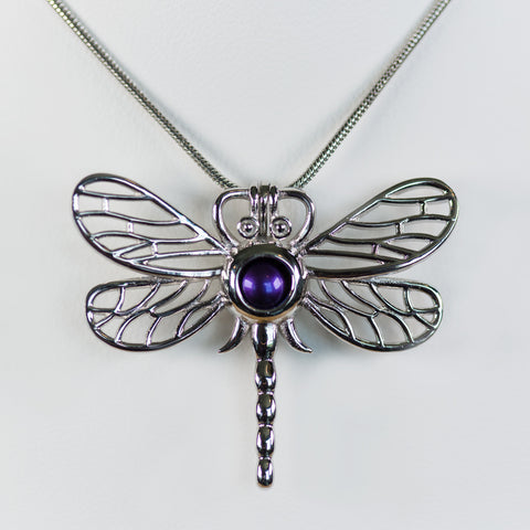 Sterling Silver Dragonfly Cage Pendant
