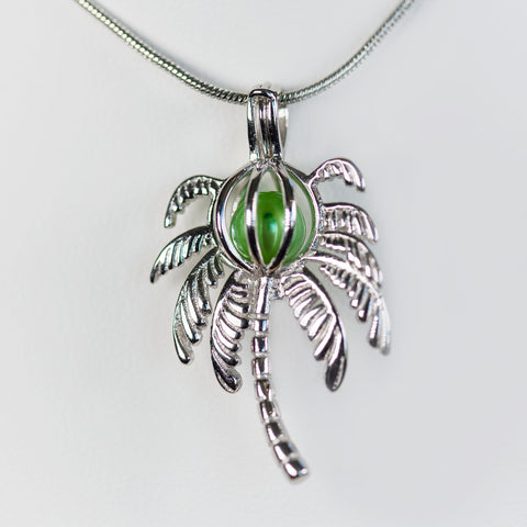 Sterling Silver Palm Tree Cage Pendant
