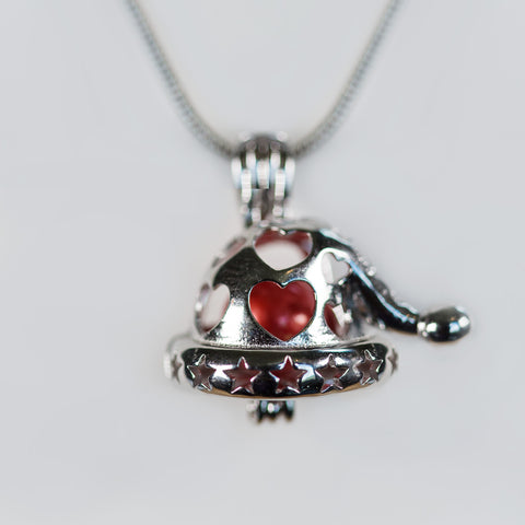 Sterling Silver Santa Hat Cage Pendant