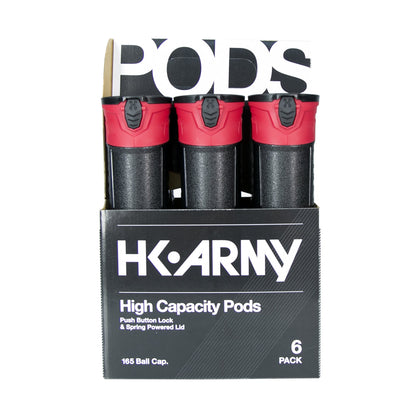 HK Army High Capacity 165 Round Pods - Black/Red - 6 Pack