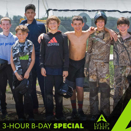 Special Paintball Birthday Party (includes 10 sets of rental gear, 3 hour party time, 3,000 paintballs to share, take-home paintball marker package)