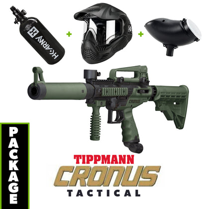 Tippmann Cronus Tactical - Olive / Black COMBO Package with Tank, Hopper, Goggle