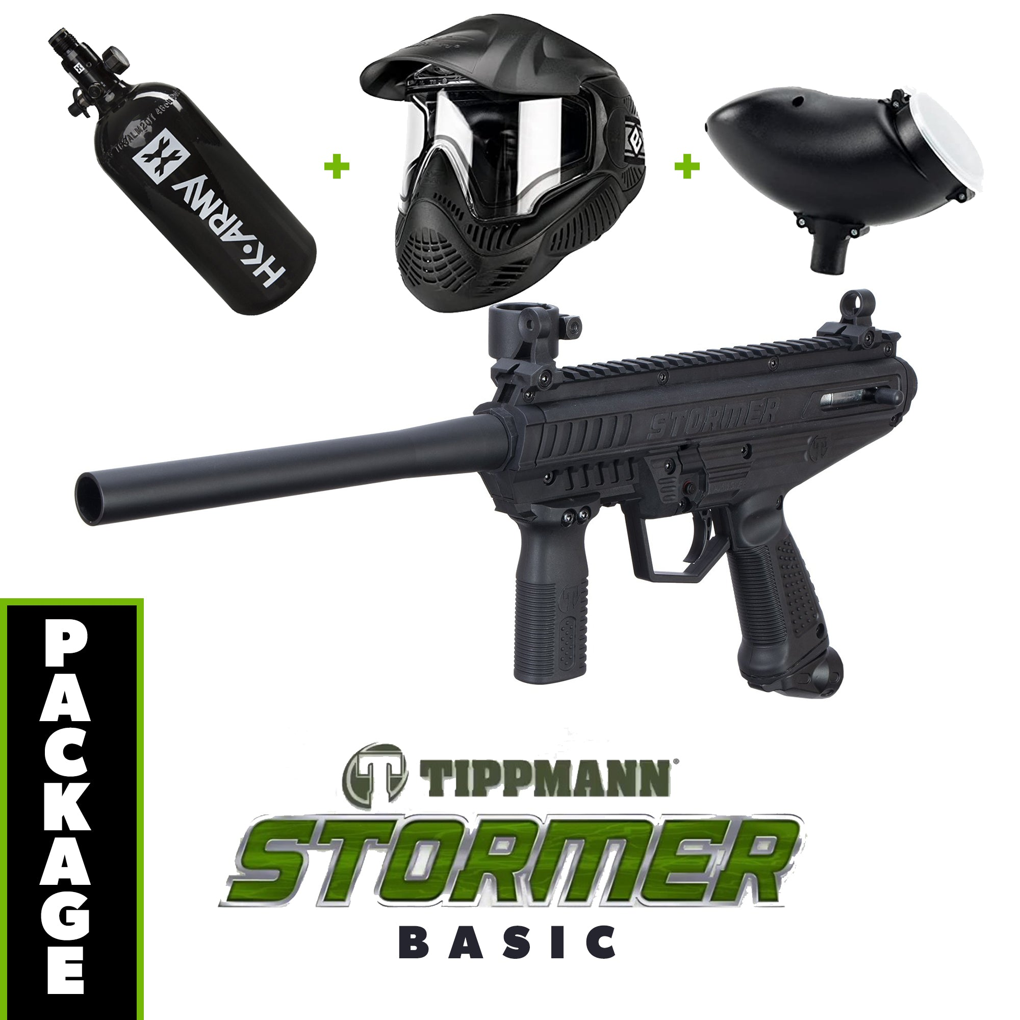 Tippmann Stormer - Basic COMBO Package with Tank, Hopper, Goggle