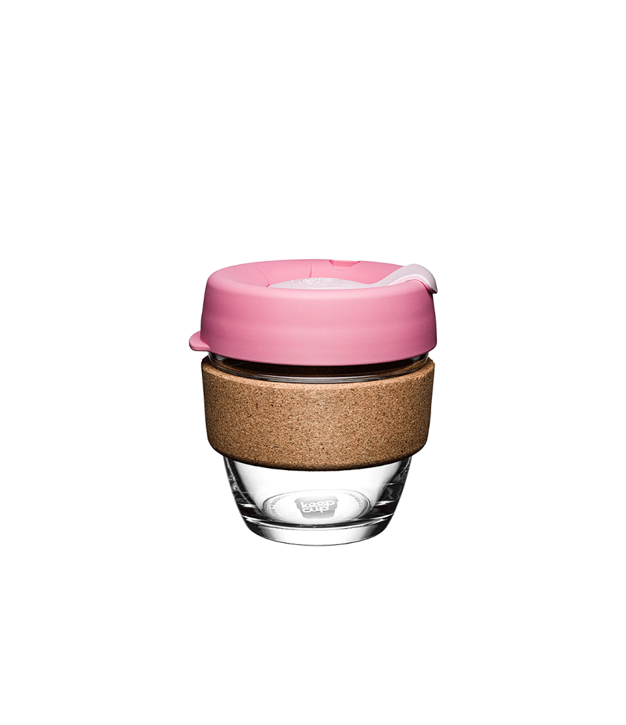 Pink Glass & Cork Keep Cup