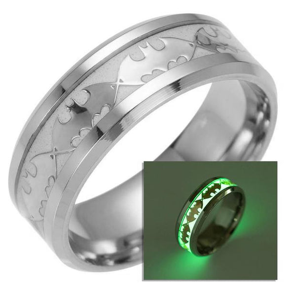 Batman Glowing Luminous Ring Stainless Steel