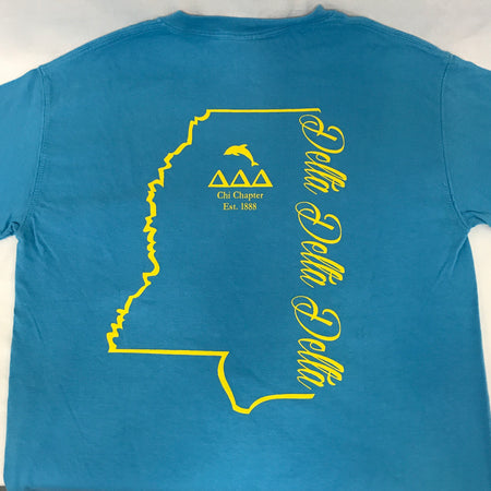 Ole Miss Sorority T shirt with State of Mississippi
