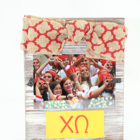 Sorority Natural Frame with Bow  Picture size is 3 X 5