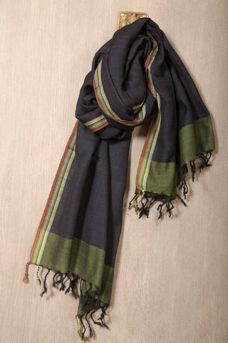 Navy blue wool mix scarf