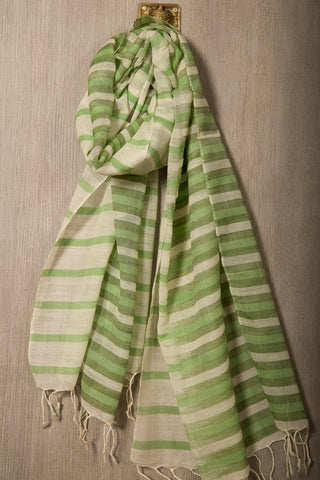 Striped green wool mix handwoven scarf
