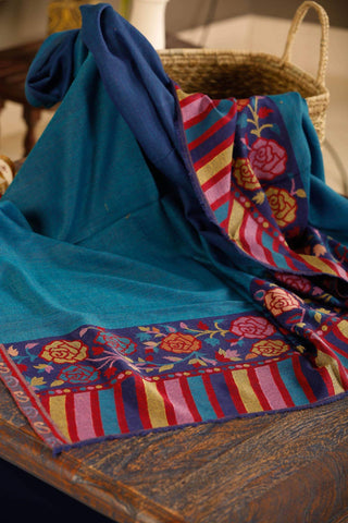 Kashmiri Stole in Kani weave - Blue color
