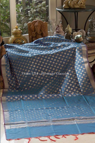 Banarasi Dupatta - Greyish Blue color
