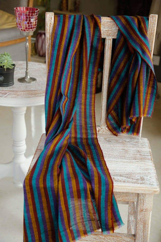 Pashmina Stole in Multi Color Stripes