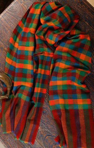 Pashmina Stole in Multi Color Checks
