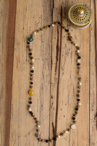 Stone Glass Bead & Pearl Cris Disc Necklace
