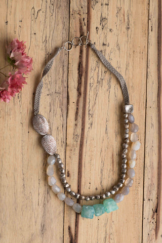 Green & Gray Agate with Antique Silver Aluminium Bead Necklace