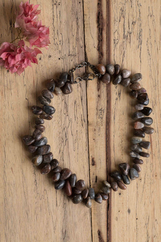 Grey Assorted Stone Bead Necklace
