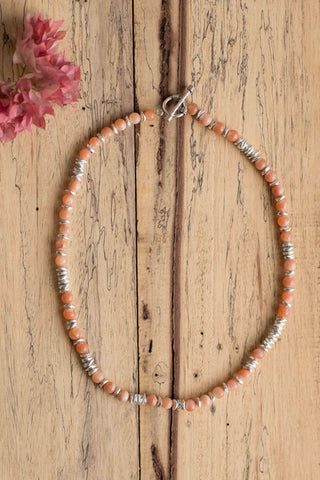 Silver Cris Disc & Tangy Carnelian Stone Bead Necklace