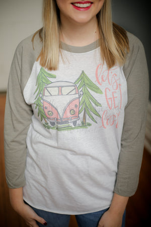 Let's Get Lost Baseball Raglan - Doodles by Rebekah