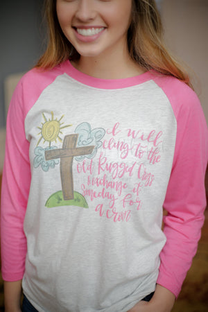 Old Rugged Cross Raglan - Doodles by Rebekah