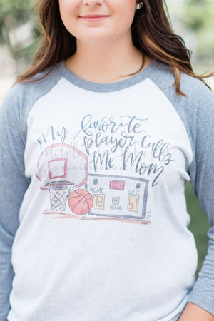 My Favorite Player Basketball Raglan - Doodles by Rebekah