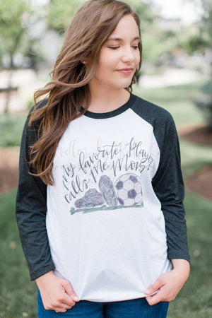 My Favorite Player-SOCCER Mom Raglan - Doodles by Rebekah