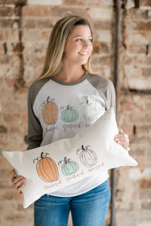 Thankful, Grateful, Blessed Pillow - Doodles by Rebekah