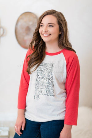 Alabama Teacher Word Art Raglan - Doodles by Rebekah