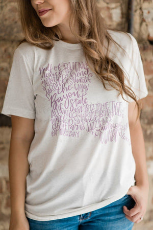 Louisiana Word Art - Tees