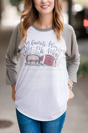 My Favorite Player FOOTBALL Mom Raglan - Doodles by Rebekah
