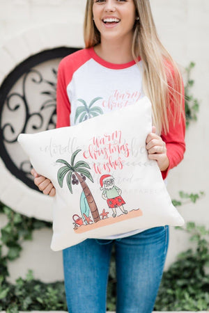 Warm Christmas Wishes Pillow - Doodles by Rebekah