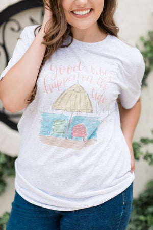 Good Vibes Happen On The Tide Tee - Doodles by Rebekah