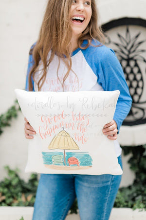 Good Vibes Happen On The Tide Pillow - Doodles by Rebekah