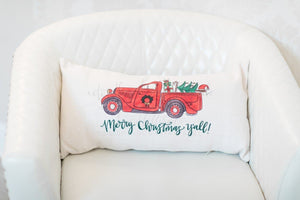 Merry Christmas, Y'all! Truck Pillow - Doodles by Rebekah