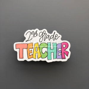 2nd Grade Teacher Sticker - Doodles by Rebekah