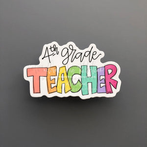 4th Grade Teacher Sticker - Doodles by Rebekah
