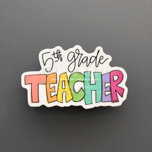 5th Grade Teacher Sticker - Doodles by Rebekah