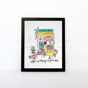Coffee Shop 8x10 Print - Doodles by Rebekah