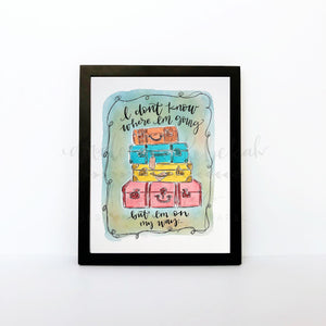 Suitcases 8x10 Print - Doodles by Rebekah