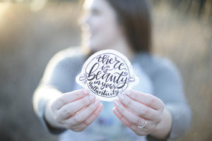 There Is Beauty In Your Authenticity Sticker - Doodles by Rebekah