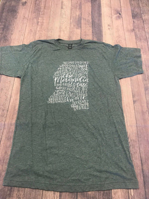 Mississippi Word Art Charcoal Tee - Doodles by Rebekah