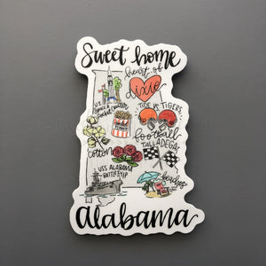 Alabama Map Sticker - Doodles by Rebekah