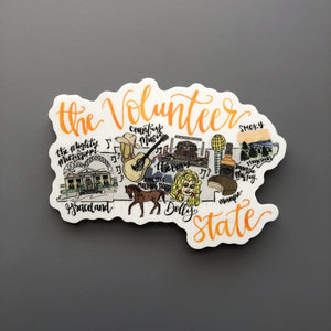 Tennessee Map Sticker - Doodles by Rebekah