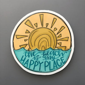 The Beach is my Happy Place Sticker - Doodles by Rebekah