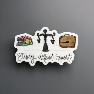 Study. Defend. Repeat Sticker - Doodles by Rebekah