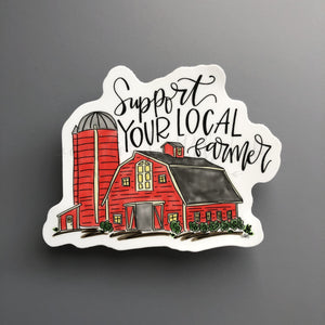 Support Your Local Farmer Sticker - Doodles by Rebekah