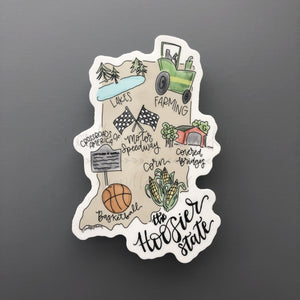 Indiana Map Sticker - Doodles by Rebekah