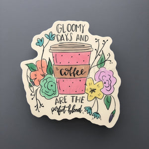 Gloomy Days and Coffee Sticker - Doodles by Rebekah