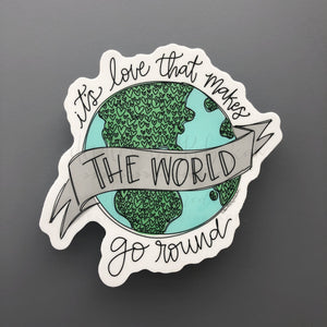 Love Makes the World Go Round Sticker - Doodles by Rebekah