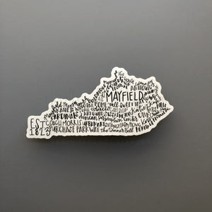 Mayfield, KY Word Art Sticker - Doodles by Rebekah