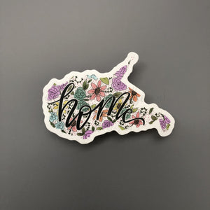 West Virginia Floral Home Sticker - Doodles by Rebekah